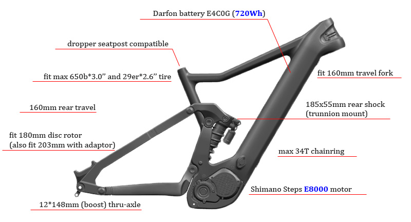 LCFS801 ebike carbon frame 720Wh